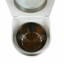 toilette sèche arrondie blanche avec seau inox 22 litres et bavette inox