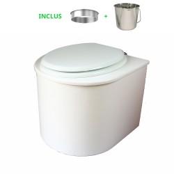toilette sèche en bois arrondie complète avec seau inox et bavette inox