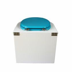 toilette sèche arrondie blanche avec abattant turquoise, seau plastique 22 litres et bavette inox
