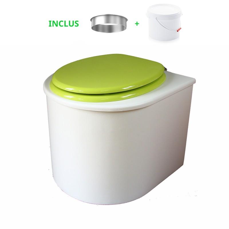 toilette sèche arrondie blanche avec abattant vert, seau plastique 22 litres et bavette inox