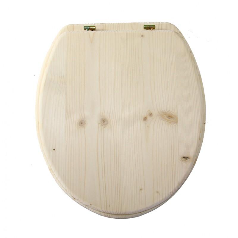 ensemble abattant et lunette pour toilette sèche en bois brut
