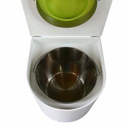 toilette sèche en bois blanc arrondie complète avec abattant vert, seau inox et bavette inox
