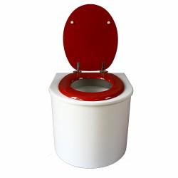 toilette sèche arrondie blanche avec abattant rouge, seau plastique 22 litres et bavette inox