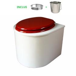 toilette sèche en bois blanc arrondie complète avec abattant rouge, seau inox et bavette inox