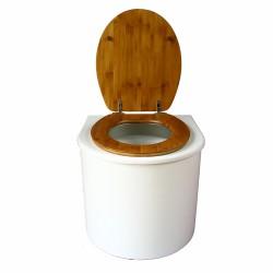 toilette sèche arrondie blanche avec abattant bambou, seau plastique 22 litres et bavette inox