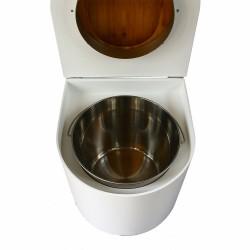 toilette sèche en bois blanc arrondie complète avec abattant bambou, seau inox et bavette inox