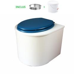 toilette sèche arrondie blanche avec abattant bleu nuit, seau plastique 22 litres et bavette inox