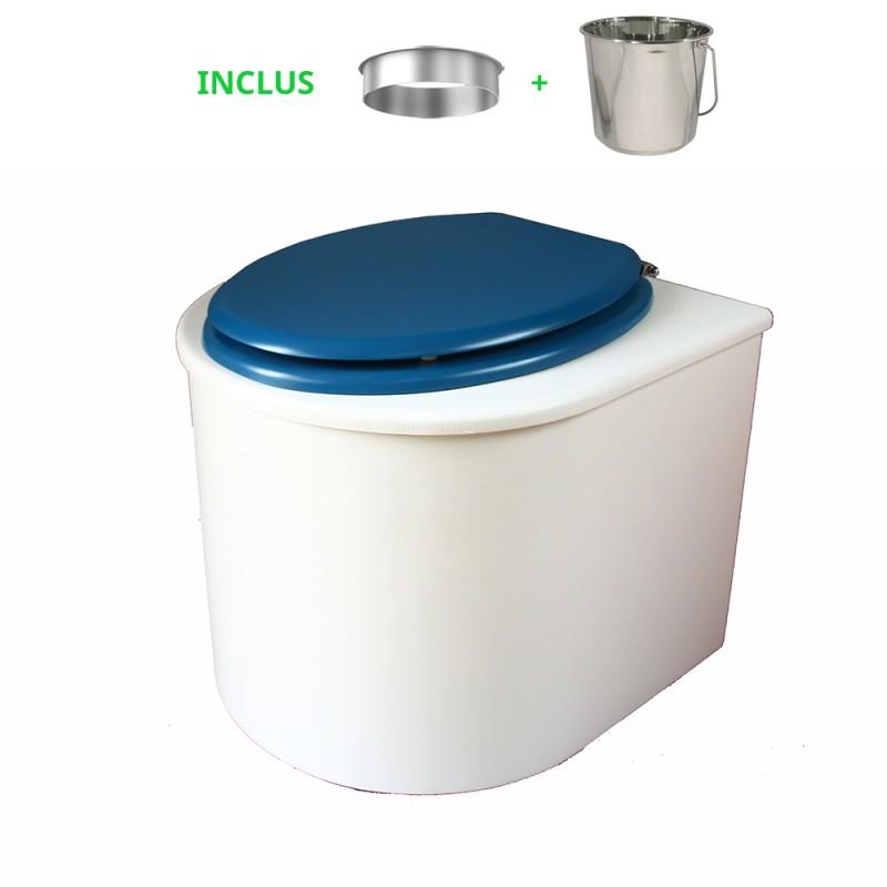 toilette sèche en bois blanc arrondie complète avec abattant bleu nuit, seau inox et bavette inox