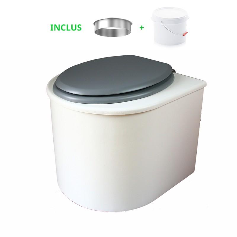 toilette sèche arrondie blanche avec abattant gris, seau plastique 22 litres et bavette inox