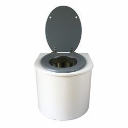 toilette sèche en bois blanc arrondie complète avec abattant gris clair, seau inox et bavette inox