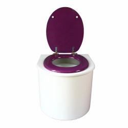toilette sèche arrondie blanche avec abattant violet, seau plastique 22 litres et bavette inox