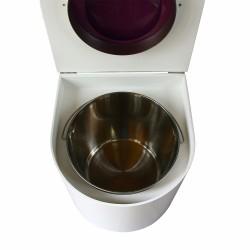 toilette sèche en bois blanc arrondie complète avec abattant violet, seau inox et bavette inox