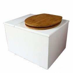 Toilette sèche avec bac à copeaux de bois. bois blanc, abattant bambou. Livré complet avec bavette inox et seau 22 litres