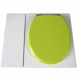 Toilette sèche avec bac à copeaux de bois. peinte en blanc. abattant vert. Livré complet avec bavette inox et seau 22 litres