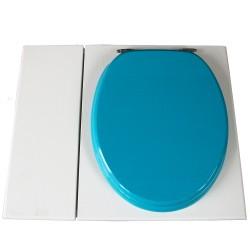 Toilette sèche avec bac à copeaux de bois. peinte en blanc. abattant turquoise. Livrée avec bavette inox et seau 22 litres