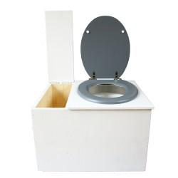 Toilette sèche avec bac à copeaux de bois. peinte en blanc. abattant gris. Livrée avec bavette inox et seau 22 litres