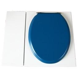 Toilette sèche avec bac à copeaux de bois. peinte en blanc. abattant bleu nuit. Livrée avec bavette inox et seau 22 litres