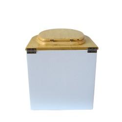 toilette sèche arrondie blanche avec abattant huilé, seau plastique 22 litres et bavette inox. modèle rehaussé