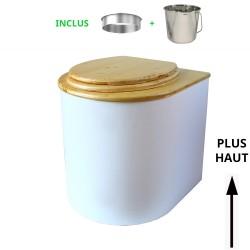 toilette sèche arrondie blanche avec abattant huilé, seau inox 22 litres et bavette inox. modèle rehaussé