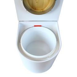 toilette sèche rehaussé arrondie bois blanc, abattant huilé, seau plastique 22 L, bavette inox. hauteur d'assise de 50 cm