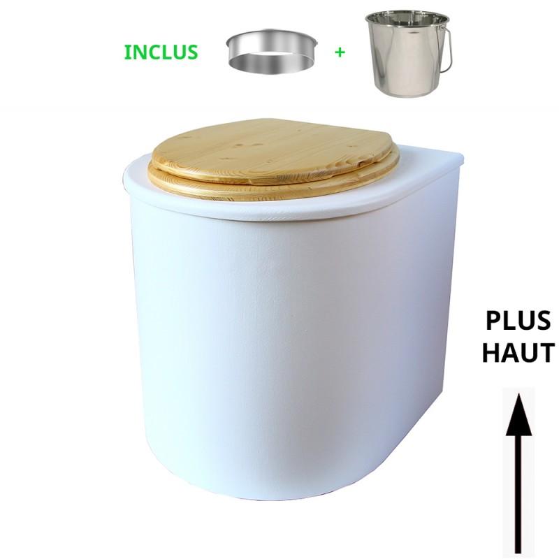 toilette sèche rehaussé arrondie bois blanc, abattant huilé, seau inox 22 L, bavette inox. hauteur d'assise de 50 cm