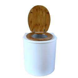 toilette sèche rehaussé arrondie bois blanc, abattant bambou, seau plastique 22 L, bavette inox. hauteur d'assise de 50 cm
