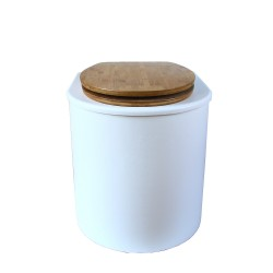 toilette sèche rehaussé arrondie bois blanc, abattant bambou, seau inox 22 L, bavette inox. hauteur d'assise de 50 cm