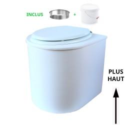 toilette sèche rehaussé arrondie bois blanc, abattant blanc, seau plastique 22 L, bavette inox. hauteur d'assise de 50 cm