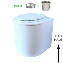 toilette sèche rehaussé arrondie bois blanc, abattant blanc, seau inox 22 L, bavette inox. hauteur d'assise de 50 cm