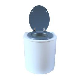 toilette sèche rehaussé arrondie bois blanc, abattant gris, seau plastique 22 L, bavette inox. hauteur d'assise de 50 cm