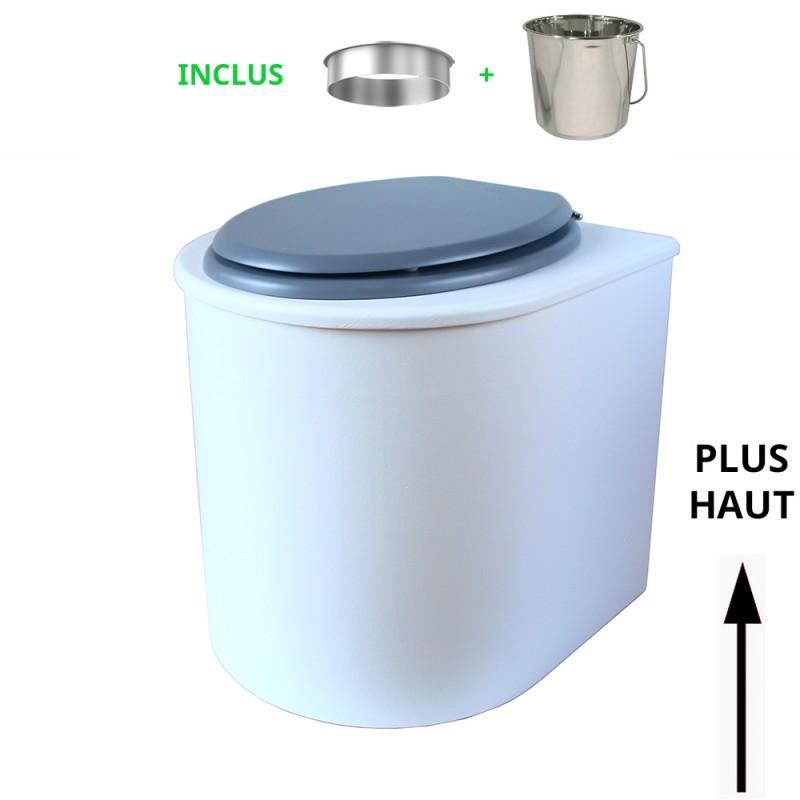 toilette sèche rehaussé arrondie bois blanc, abattant gris, seau inox 22 L, bavette inox. hauteur d'assise de 50 cm