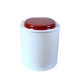 toilette sèche rehaussé arrondie bois blanc, abattant rouge, seau plastique 22 L, bavette inox. PMR hauteur d'assise de 50 cm