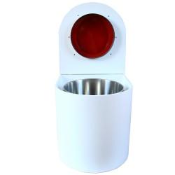 toilette sèche rehaussé arrondie bois blanc, abattant rouge, seau inox 22 L, bavette inox. hauteur d'assise de 50 cm