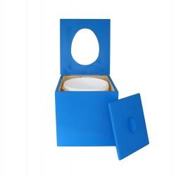 Toilette sèche pas chère en bois bleue avec seau plastique alimentaire 20 litres