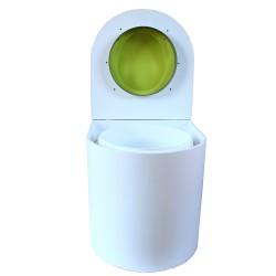 toilette sèche rehaussé arrondie bois blanc, abattant vert, seau plastique 22 L, bavette inox. PMR hauteur d'assise de 50 cm