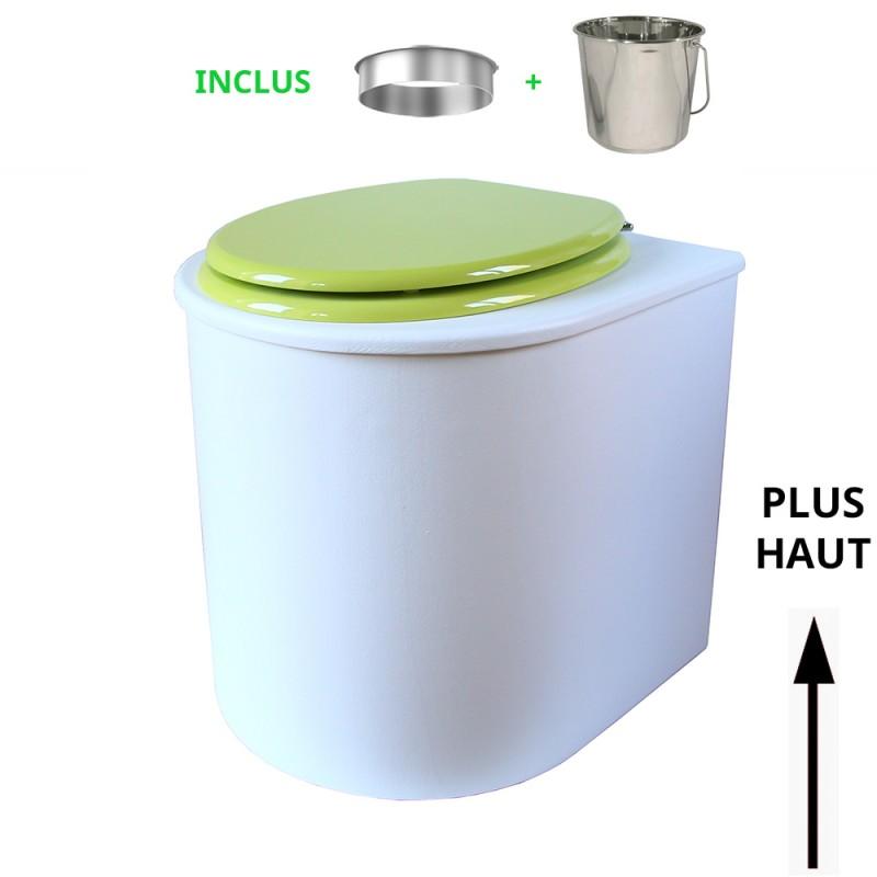 toilette sèche rehaussé arrondie bois blanc, abattant vert, seau inox 22 L, bavette inox. hauteur d'assise de 50 cm PMR