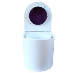 toilette sèche rehaussé arrondie bois blanc, abattant violet, seau plastique 22 L, bavette inox. PMR hauteur d'assise de 50 cm