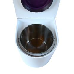 toilette sèche rehaussé arrondie bois blanc, abattant violet, seau inox 22 L, bavette inox. hauteur d'assise de 50 cm PMR