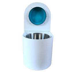 toilette sèche rehaussé arrondie bois blanc, abattant turquoise, seau inox 22 L, bavette inox. PMR