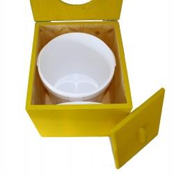 Toilette sèche pas chère en bois jaune avec seau plastique alimentaire 20 litres