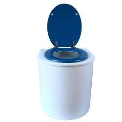 toilette sèche rehaussé arrondie bois blanc, abattant bleu nuit, seau plastique 22 L, bavette inox. hauteur d'assise de 50 cm
