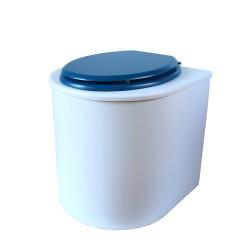toilette sèche rehaussé arrondie bois blanc, abattant bleu nuit, seau inox 22 L, bavette inox. PMR