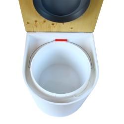 toilette sèche arrondie blanche avec couvercle huilé, abattant gris, seau plastique 22 litres, bavette inox. modèle rehaussé