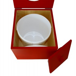 Toilette sèche pas chère en bois vert avec seau plastique alimentaire 20 litres