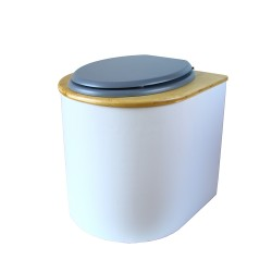 toilette sèche arrondie blanche avec couvercle huilé, abattant bgris, seau inox 22 litres, bavette inox. modèle rehaussé PMR