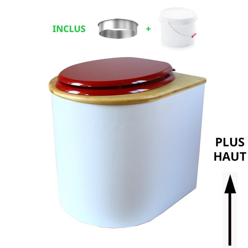 toilette sèche arrondie blanche, couvercle huilé, abattant rouge, seau plastique 22 litres, bavette inox. modèle rehaussé PMR