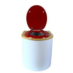 toilette sèche arrondie blanche avec couvercle huilé, abattant rouge, seau inox 22 litres, bavette inox. modèle rehaussé PMR