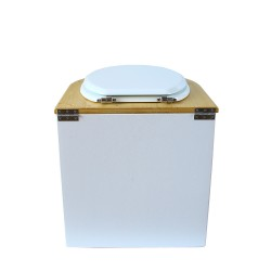 toilette sèche arrondie blanche, couvercle huilé, abattant blanc, seau plastique 22 litres, bavette inox. modèle rehaussé PMR