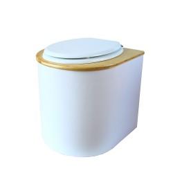 toilette sèche arrondie blanche avec couvercle huilé, abattant blanc, seau inox 22 litres, bavette inox. modèle rehaussé PMR