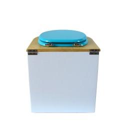 toilette sèche arrondie blanche, couvercle huilé, abattant turquoise, seau plastique 22L, bavette inox. modèle rehaussé PMR